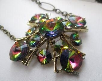Repurposed Vintage Vitrail Rivioli Rhinestone Brooch into Pendant Necklace, Unique Bronze Chain, Volcano Rainbow Costume Jewelry, Statement