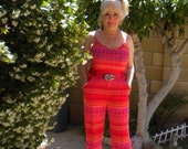 For Artists Exposed  -  Orange Stripe Jersey Knit Jumpsuit