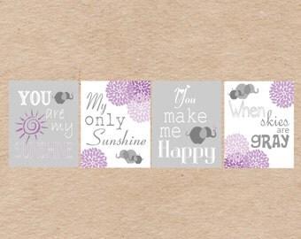 Elephant You Are My Sunshine Nursery Art DIY Printable-  Grey & Purple