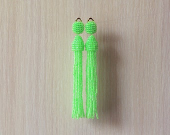 Beaded Tassel Clip-On Earrings Neon Lime (made to order)