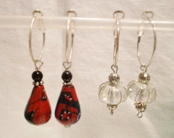 Fun set of 2 Pairs of Earrings Silver Plate Hoops with Bead Charms