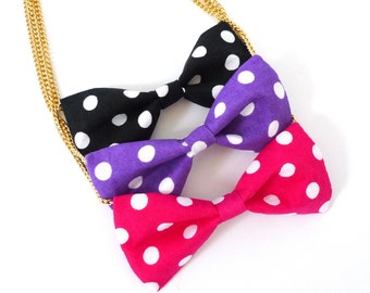 Girlfriend necklace bowtie for wedding and party Polka dot bow tie necklace for her Polka dot collection