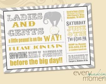 Circus Baby Shower Invitation -- digital, custom, printable --  Baby Boy -- Baby Girl -- Baby Shower Invite -- Gender Neutral