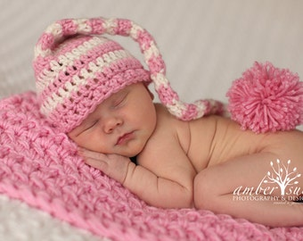 Crochet Baby Hat  Pink and Ivory  Striped Elf Pixie  Free shipping