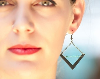 Arrow earrings with turquoise- antiqued brass