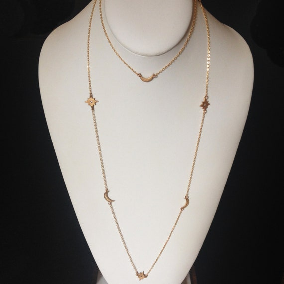 Moon and Stars Layering Necklace in Bronze and Gold