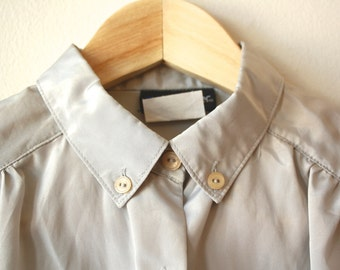 70s Silver Button Up Shirt Womens Vintage Small