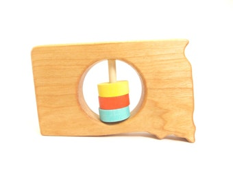South Dakota State Baby Rattle™ - Modern Wooden Baby Toy - Organic and Natural