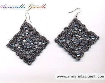 Crochet earrings, silver, black, handmade, square, strass, golden, thread, cotton,  rumble, modern style, #E183