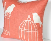 "Bird Cage Designer Fabric: 18"" x 18"" Pillow Cover"