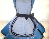 Retro Inspired Costume Apron French Maid Apron Blue and White Trimmed in Black