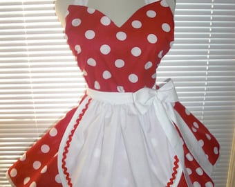 French Maid Apron Pin-up Retro Style Red with Large White Polka Dots Flirty Skirt Sweetheart Neckline