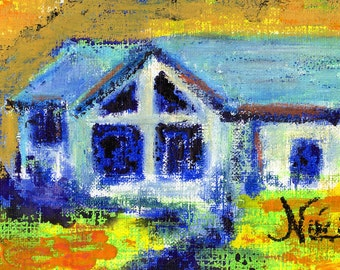 Original Small Mixed Media Textured Cottage Painting Canyon House
