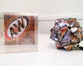 A&W Root Beer Can Origami Ornament.  Upcycled Recycled Repurposed Art