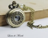Victorian Pocket Watch necklace -Wedding gift -Bridal gift - Coupon code.-Personalized - Custom colors