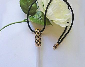 Gold Swarovski crystal encrusted elegant frosted e-cig electronic cigarette holder with necklace