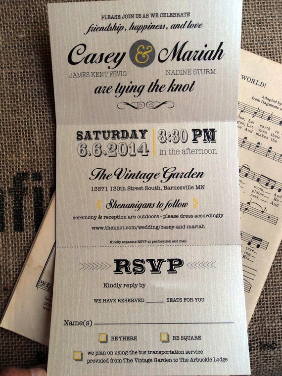 items similar to wedding trifold invitations perforated rsvp postcard 35 x 55 folded vintage rustic country trifold western grey yellow navy coral mint on - Wedding Invitations With Rsvp