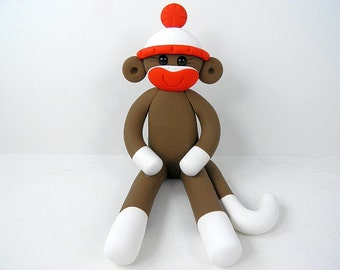 Traditional Sock Monkey Birthday Cake Topper Polymer Clay