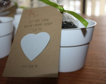 Wedding or Bridal Shower favors - Seed paper hearts