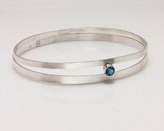 Sterling Silver Orbit Bracelet with Semi-Precious Gemstone