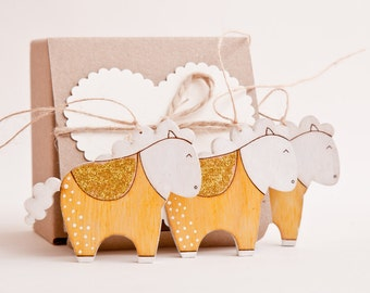 Gold Christmas Ornaments Holiday Ornaments Wooden Decorations Set of 3. White Horse Christmas Gifts