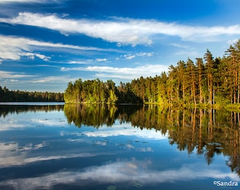 Nature decor, calm lake in Finland wall art, forest reflection, print to frame for your wall, bright sunset light in Nordic national park