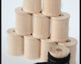 10- Various sized Wooden Spools, Wood Spool for Twine or Thread, Large Wooden Spool, Small Wooden Spool