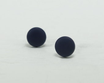 Navy Blue Stud Earrings - Navy Studs - Matte Navy Blue Earrings - Dark Blue Posts - Mens Earrings - Mens Studs - Earrings for Men