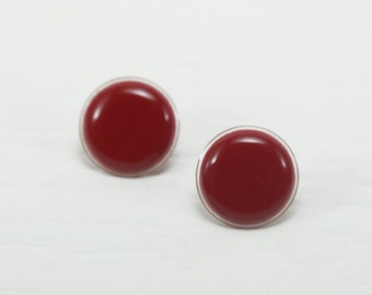 Red Stud Earrings 20mm - Deep Red Studs - Dark Red Earrings - Big Stud Earrings - Red Earrings - Surgical Stainless Steel Earring Post
