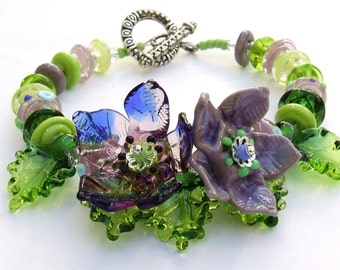 Sale ! Handmade Lampwork Floral Bracelet, Purple-Violet-Green Flowers, Festive Glass Bracelet, Unique Gift, Ready to Ship!