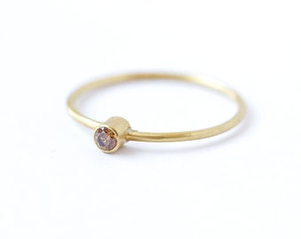 Champagne Diamond Ring - Diamond Wedding Ring - 18k Solid Gold