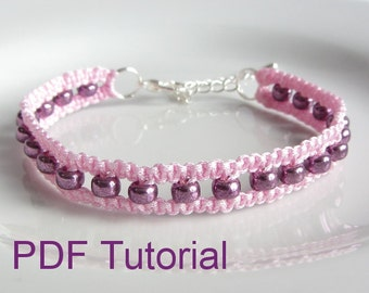 PDF Tutorial Beaded Square Knot Macrame Bracelet Pattern, Instant Download Macrame Seed Bead Bracelet Tutorial, DIY Friendship Bracelet