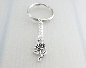 Rose Flower Charm Keychain, Rose Charm Keyring, Silver Flower Keychain, Flower Charm Keyring, Gardeners Gift, Nature Plant Gift