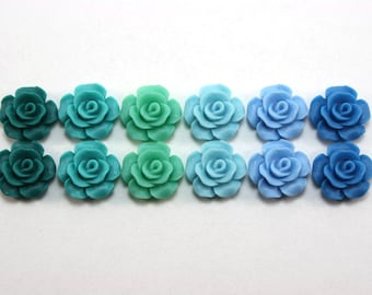 12 pcs Resin Flower Cabochons - 13.5mm Camellia Flowers - (version 2) Waterfall Matte Mix