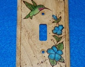 Rustic Wood Burned Single Light Switch Plate- Decorative Outlet Toggle Cover Carved Hand Painted Hummingbird