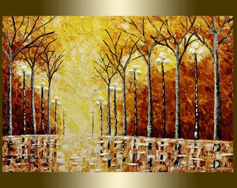 """36"""" Oil Painting Acrylic painting Surreal Heavy Palette Landscape."""