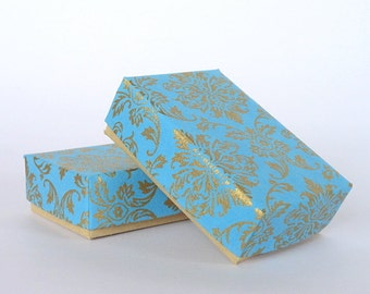 Damask Jewelry Packaging Boxes, Wedding favor box, Packaging box, Chocolate box 10 Gold Damask Print on Turquoise 3 x 2 x1 inch