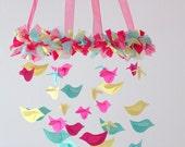Bird Nursery Mobile - Pink, Yellow, Aqua for Baby Nursery Mobile Room Decor