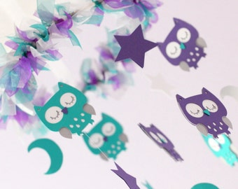Owl Baby Nursery Mobile in Purple, Teal, Gray & White- Baby Mobile, Baby Shower Gift