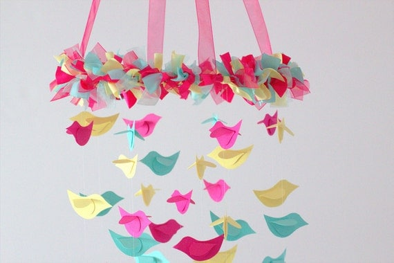 Bird Nursery Mobile - Pink, Yellow, Aqua for Baby Nursery Mobile Room Decor