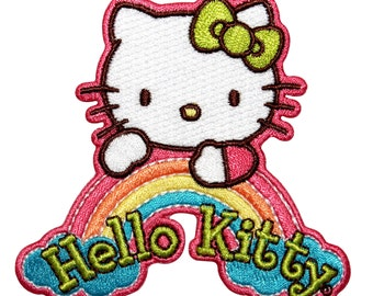 Hello Kitty White Rainbow Logo Japanese Culture Cat Icon Iron On Applique Patch