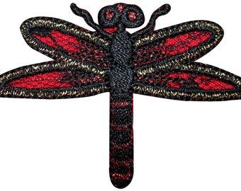 ID #1682 Dragonfly Damselfly Bug Shiny Metallic Thread Iron On Badge Applique Patch