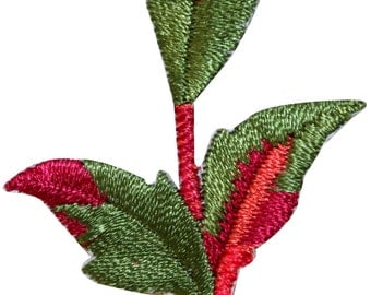 ID #7146 Red & Green Plant Leaf Branch Flora Embroidered Iron On Badge Applique Patch