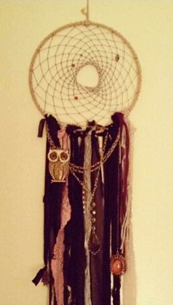 Large dream catcher with owl charm and lace