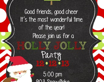 12   Christmas Holiday Party Invitations with envelopes - Santa- Holly Jolly Party
