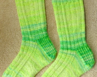 Hand Knit Womens or Mens Wool Socks - Regia Fluorescent Neon wool sock yarn (S-133)