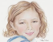 Realistic color illustration, Custom color pencil Portrait, Drawing from your Photo, Commission Art, Watercolor painting,