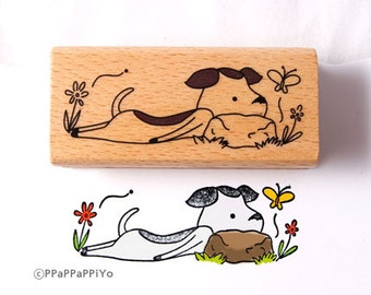 dog lie Rubber Stamp