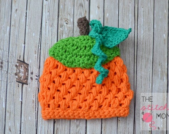 Crochet Puff Stitch Pumpkin Beanie Hat Pattern - Several Sizes Available
