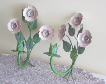 Vintage Pair Toleware Candle Holders Sconces Pink Flowers